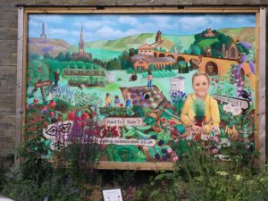 Incredible Edible mural on the canal at Todmorden